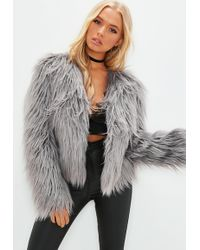 Missguided - Gray Collarless Shaggy Coat - Lyst