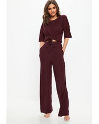 Missguided - Burgundy Ribbed Wide Leg Loungewear Set - Lyst