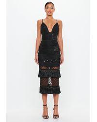 Missguided - Peace + Love Black Beaded Tassel Midi Dress - Lyst
