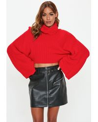Missguided - Petite Red Ribbed Roll Neck Jumper - Lyst