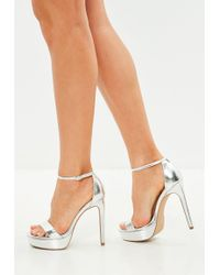 123ff537640 Cleated Chunky Flatform Sandals Iridescent White.  60 Sold out. Missguided  · Missguided - Silver Simple Strap Platform Sandals - Lyst