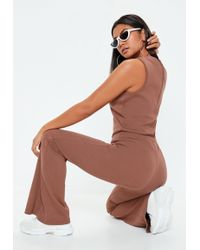 38640ec4ea0 Missguided - Mocha Brown Ribbed Flare Sleeveless Jumpsuit - Lyst