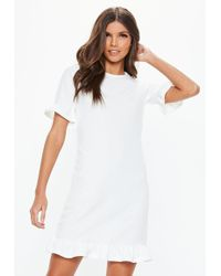 a3ccbe6314 Missguided - White Frill Detail Short Sleeve Shift Dress - Lyst