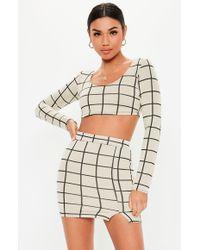 e497afa79a95b6 Missguided - Petite White Co Ord Grid Print Crop Top - Lyst