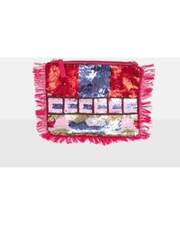 Missguided - Pink Sequin Beaded Fringe Clutch Bag - Lyst