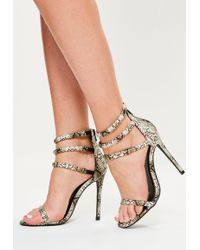 e8bdedbc60fb Missguided - Rounded 4 Strap Barely There Sandal Snake Print - Lyst