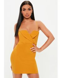 Missguided - Mustard Fold Over Strappy Dress - Lyst