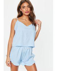 1e84e8968b28 Missguided - Blue Polka Dot Woven Cami Pyjama Set - Lyst