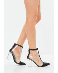 Missguided | Black Perspex Toe Cap Ankle Boot | Lyst