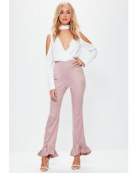 Missguided - Pink Satin Back Crepe Pointed Frill Hem Trousers - Lyst