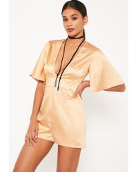 Missguided | Nude Wide Sleeve Plunge Satin Romper | Lyst