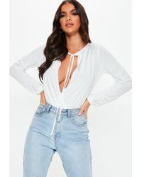 Missguided - White Tie Front Wrap Blouse Bodysuit - Lyst