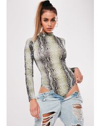 Missguided - Nude Snake Print High Neck Bodysuit - Lyst