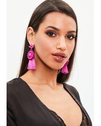 Missguided - Fuchsia Dropped Tassel Earrings - Lyst