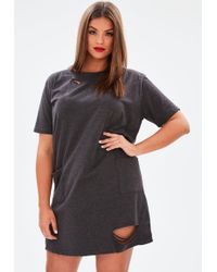 Missguided - Plus Size Grey Distressed T Shirt Dress - Lyst