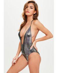 Missguided - Metallic Mermaid T Bar Swimsuit - Lyst