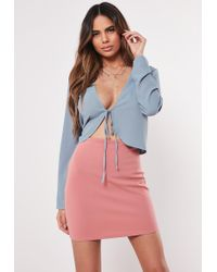 d930eb4d9a375 Missguided Carrisa Long Sleeve Jersey Bardot Crop Top Navy in Blue ...