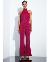 b5b3d34c0d76 Missguided - Peace + Love Pink Embellished Sequin High Neck Jumpsuit - Lyst