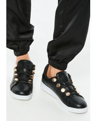 Missguided - Black Gold Disc Eyelet Trainers - Lyst