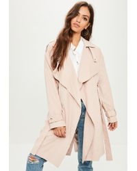 Missguided - Pink Waterfall Trench Coat - Lyst