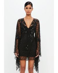 Missguided - Peace + Love Black Kimono Sleeve Embellished Plunge Wrap Dress - Lyst