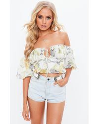 Missguided - White Floral Milkmaid Bardot Top - Lyst