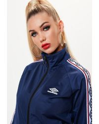Missguided - Umbro X Navy Tape Sleeve Tricot Track Top - Lyst