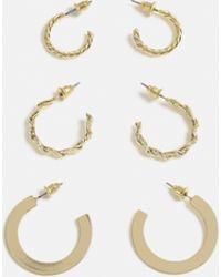 Missguided - Gold Look 3 Pack Textured Mini Hoop Earrings - Lyst