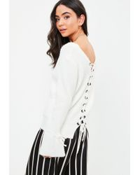 Missguided | White Tied Detail Cuff Jumper | Lyst