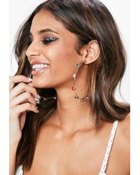 Missguided - Rainbow Diamante Gold Look Hoops - Lyst
