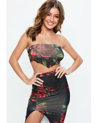 Missguided - Black Rose Floral Print Hankerchief Top - Lyst