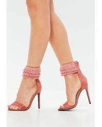Missguided - Pink Barely There Tassel Ankle Strap Sandals - Lyst