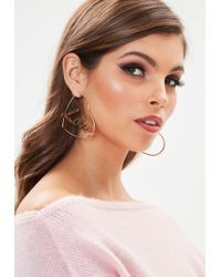Missguided - Gold Look Love Wording Hoop Earring - Lyst