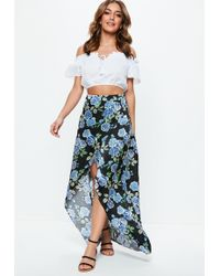 Missguided - Black Floral Satin Split Wrap Over Maxi Skirt - Lyst