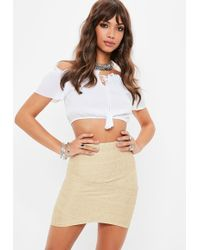 Missguided - Gold Foiled Bandage Asymmetric Mini Skirt - Lyst