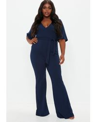 c9c45111440 Missguided Plus Size Black Striped Cold Shoulder Jumpsuit in Black ...