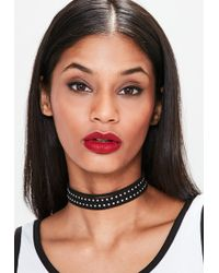 Missguided - Black Multi Band Studded Choker Necklace - Lyst