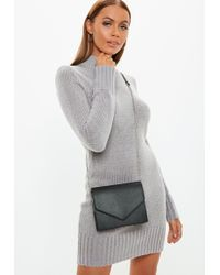 da2441ba8825 Lyst - TOPSHOP Clean Chain Strap Crossbody Bag in Black