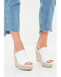 Missguided - White Faux Leather Espadrille Wedge Heeled Sandals - Lyst