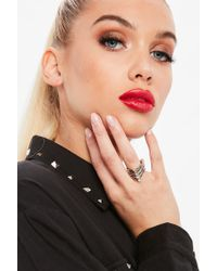 Missguided - Silver Diamante Layered Ring - Lyst