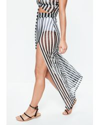 Missguided - Black Striped Mesh Side Split Maxi Skirt - Lyst
