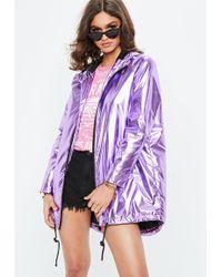 Missguided - Purple Metallic Rain Mac Jacket - Lyst