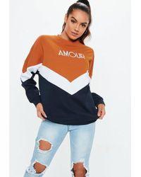 Missguided - Rust Amour Slogan Colour Block Sweatshirt - Lyst