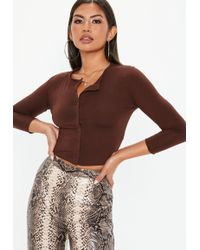 Missguided - Brown Front Button Cropped Top - Lyst