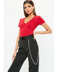 Missguided - Red V Neck Fitted T Shirt - Lyst
