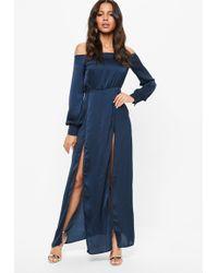 Missguided - Navy Satin Bardot Split Front Maxi Dress - Lyst