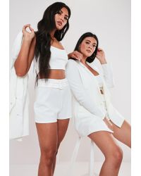 Missguided - Plus Size White Co Ord Double Breasted Blazer - Lyst