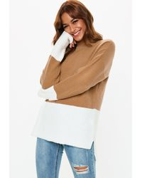 Missguided - Tall Taupe High Neck Coloublock Fluffy Jumper - Lyst