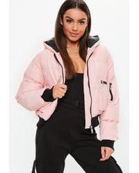 Missguided - Petite Pink Contrast Zip Puffer Jacket - Lyst