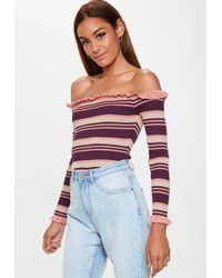 Missguided - Nude Striped Frill Bardot Knitted Bodysuit - Lyst 8e671ccdf